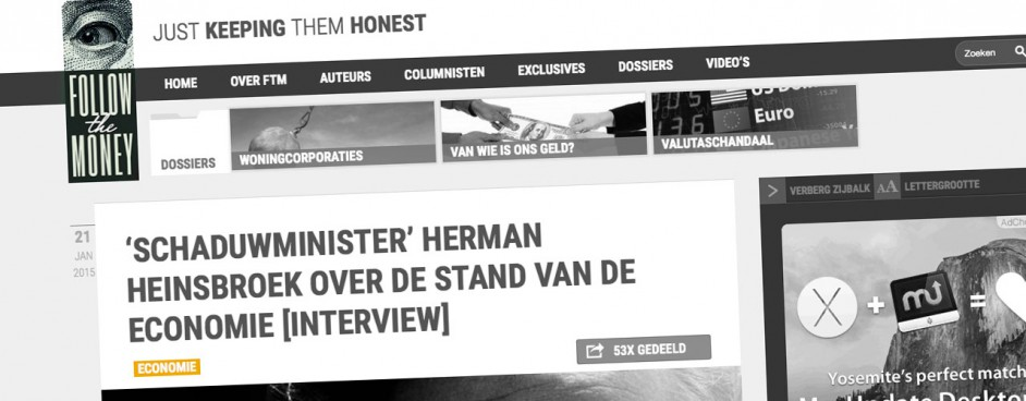 Screenshot van de oude website van Follow the Money, met een staand logo.