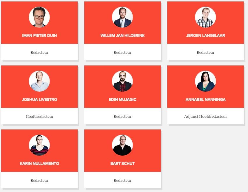 Screenshot van de pagina op Jalta.nl met een overzicht van alle leden van de redactie.