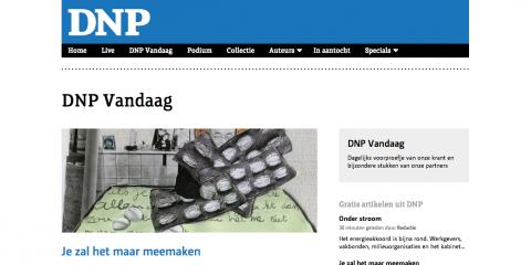 Homepage van DNP op de site www.denieuwepers.com