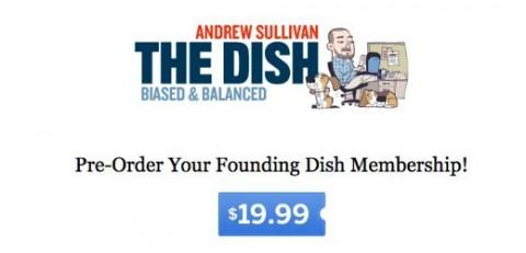 Het logo van Andrew Sullivans betaalblog The Dish.