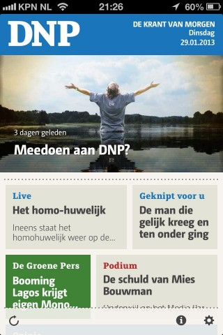 Screencap van DNP op iPhone.