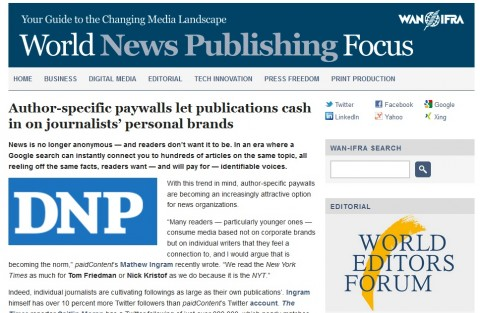 Screencap van bericht over DNP op de site van World Association of Newspapers and News Publishers.