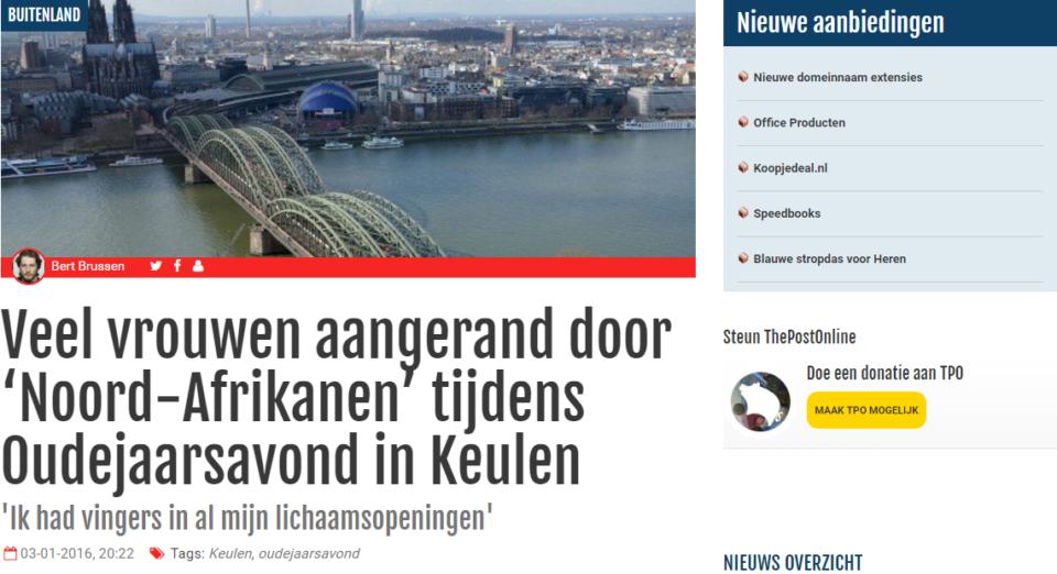 Screenshot van het bericht dat TPO op 3 januari 2016 publiceerde over de nieuwsjaarsnacht in Keulen.
