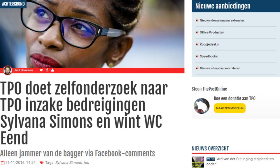 Screenshot van het artikel dat TPO publiceerde over het eigen zelfonderzoek naar de beschuldiging van DENK dat TPO haat aanwakkert tegen Sylvana Simons.