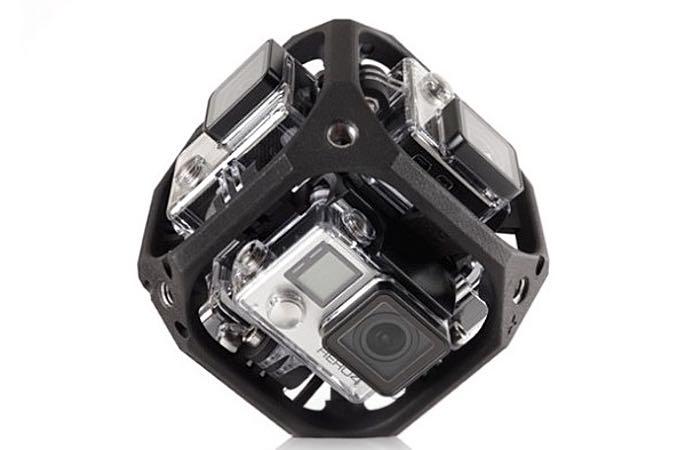 Een kubus met zes GoPro-camera's.