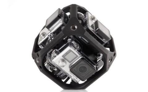 De GoPro-rig met 6 camera's.