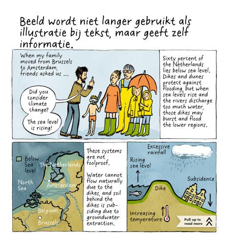 Eva Hilhorst maakte een strip over de stijging van de waterspiegel in Nederland voor het Amerikaanse tabletmagazine Symbolia.