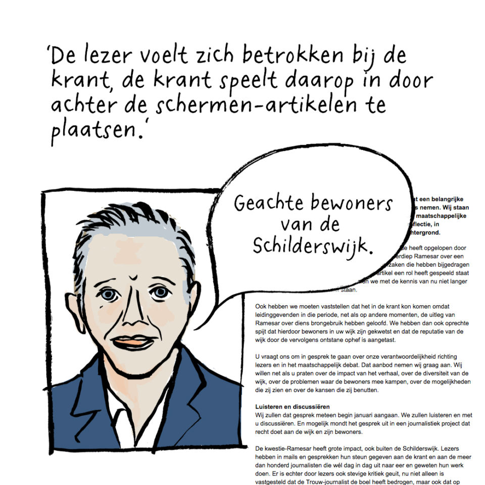 Brief van Trouw-hoofdredacteur Cees van der Laan.