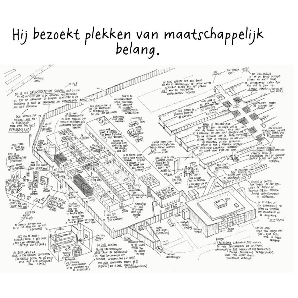 Beschrijving van het grenshospitium op Schiphol.
