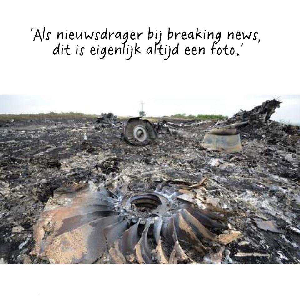 Het neergestorte vliegtuig van Malaysia Airlines vlucht MH17 op 17 juli 2014. Foto: AFP.
