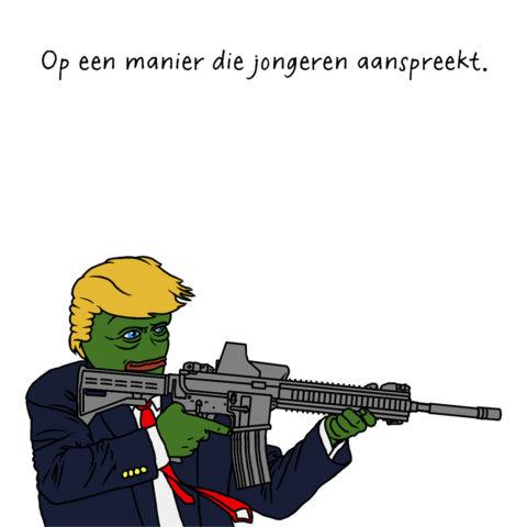 Trump als Pepe the Frog. Een internet meme die wordt geassocieerd met rechts gedachtengoed en racisme.