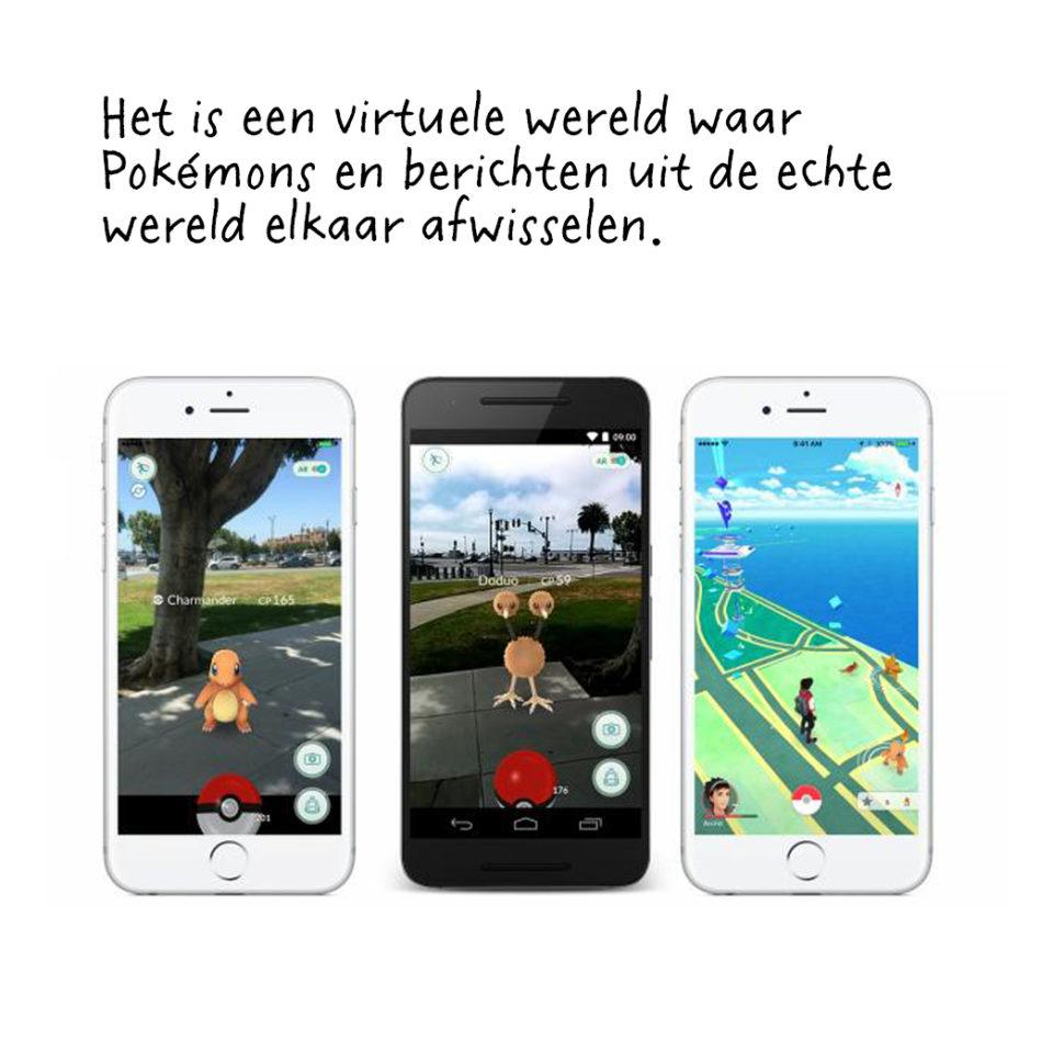 Pokémon Go is een spel voor smartphones waarmee je in de echte wereld virtuele beestjes kunt vangen.