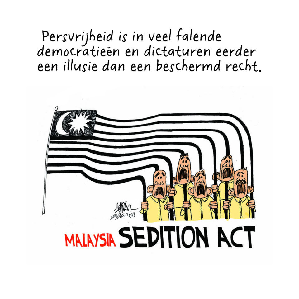 De sedition Act is de wet die opruiing verbiedt in Maleisië. Cartoon van Zunar.