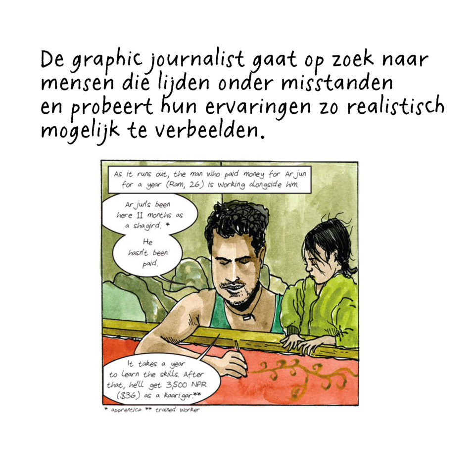 Journalistieke strip van Dan Archer over mensenhandel in Nepal.