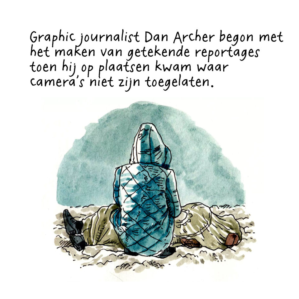 Journalistieke strip van Dan Archer over de opstand in Oekraïne in 2013.