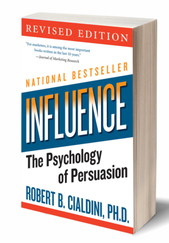 De cover van de bestseller van Robert Cialdini: Influence - The psychology of persuasion.