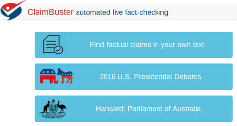 Screenshot van de website van Claimbuster, dat factchecken wil automatiseren.